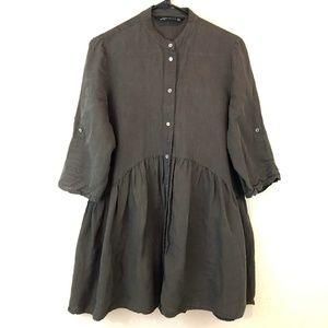 Zara Tunic Shirt Medium Olive Green Button Down